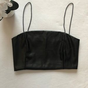 Tops - FAUX LEATHER Crop Top